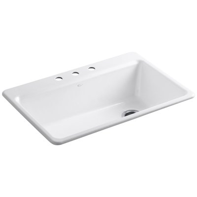 """Kohler Riverby 33"""" x 22"""" x 9-5/8"""" Top-Mount Single-Bowl Kitchen Sink with Accessories 