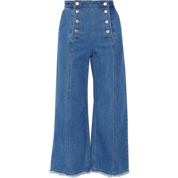 SJYP Steve J & Yoni P Denim culottes (2.622.065 IDR) ❤ liked on Polyvore  featuring pants, capris, jeans, bottoms, mid denim, high waisted trousers,  ...
