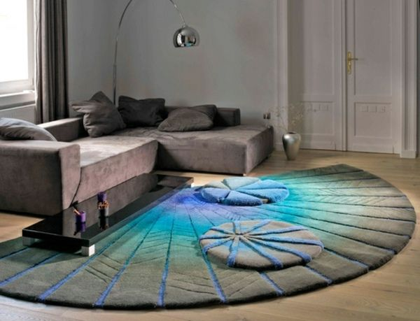 fächerformiges blau-beige teppich | teppich | pinterest | beige ... - Teppich Ideen