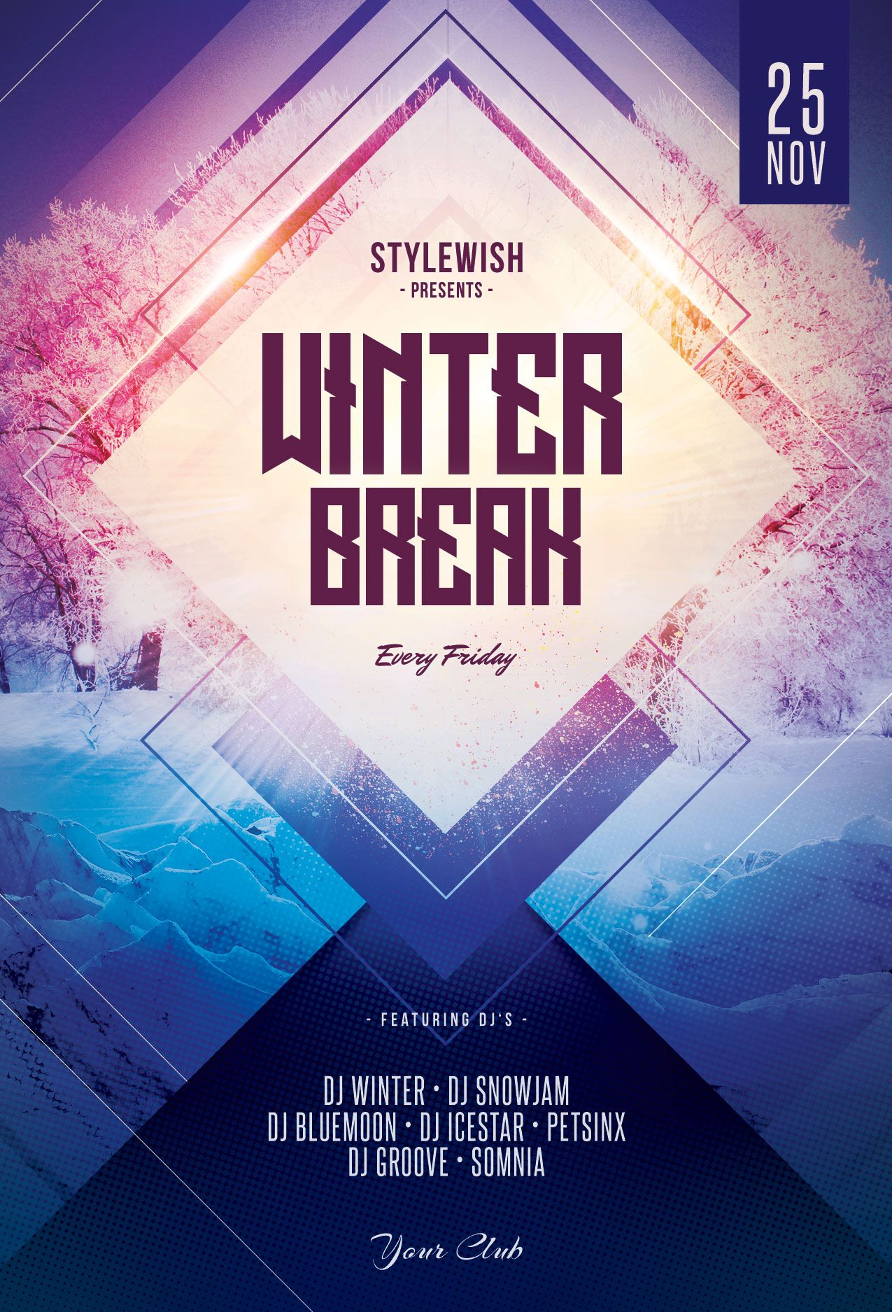 Winter Break Flyer Template. Download PSD file 9 (With