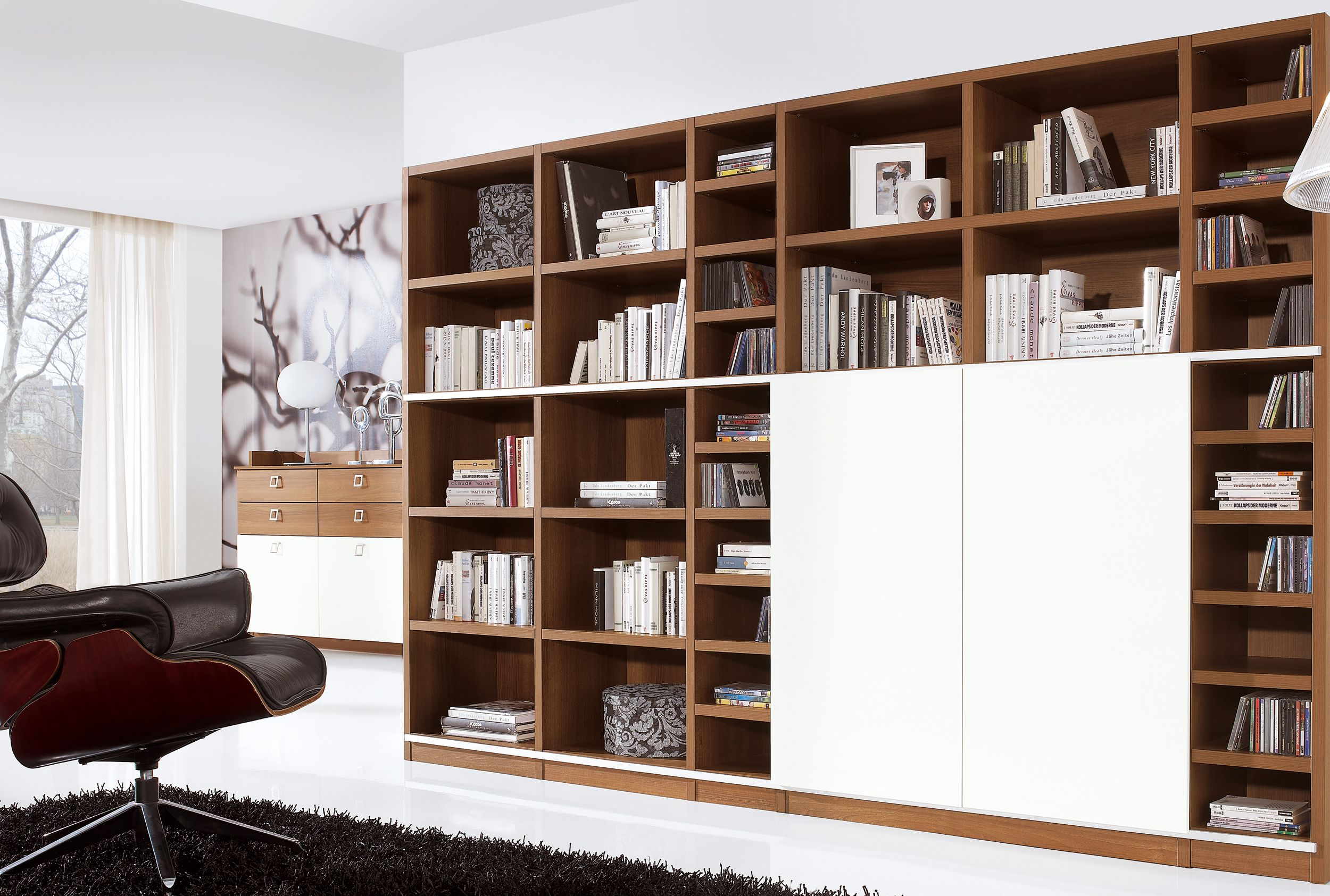 Brown And White Wooden Tv Cabinets With Doors For Hidden TV Wall ...