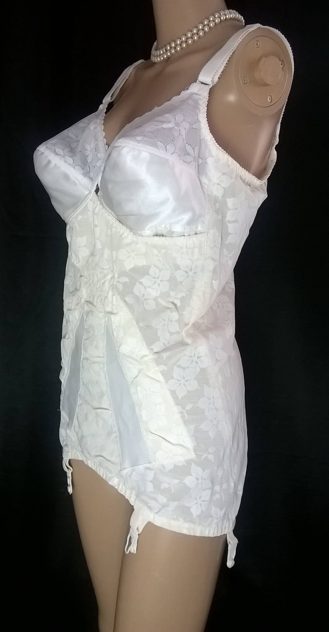 Vintage 40C Corselette Cream Girdle With Four Garters Vintage Lingerie