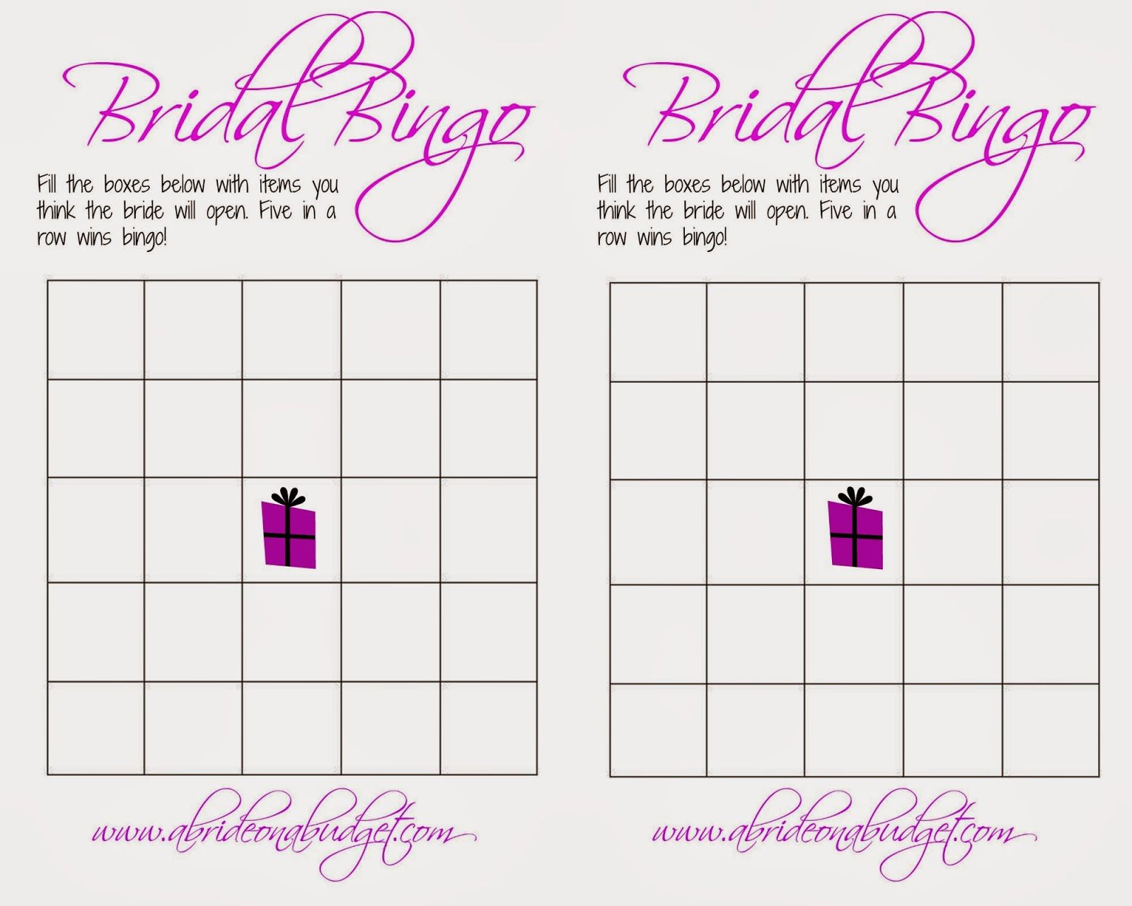 Bridal Shower Bingo Printable A Bride On Budget Wedding Website