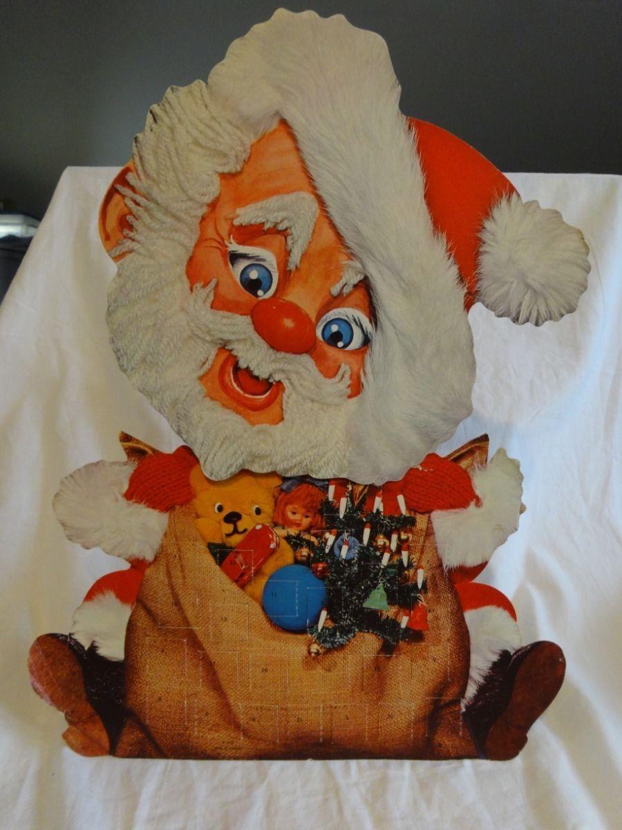 Vintage 70s Advent Calendar Crazy Bobblehead Santa Clause Made in Denmark 16 1 2 | eBay