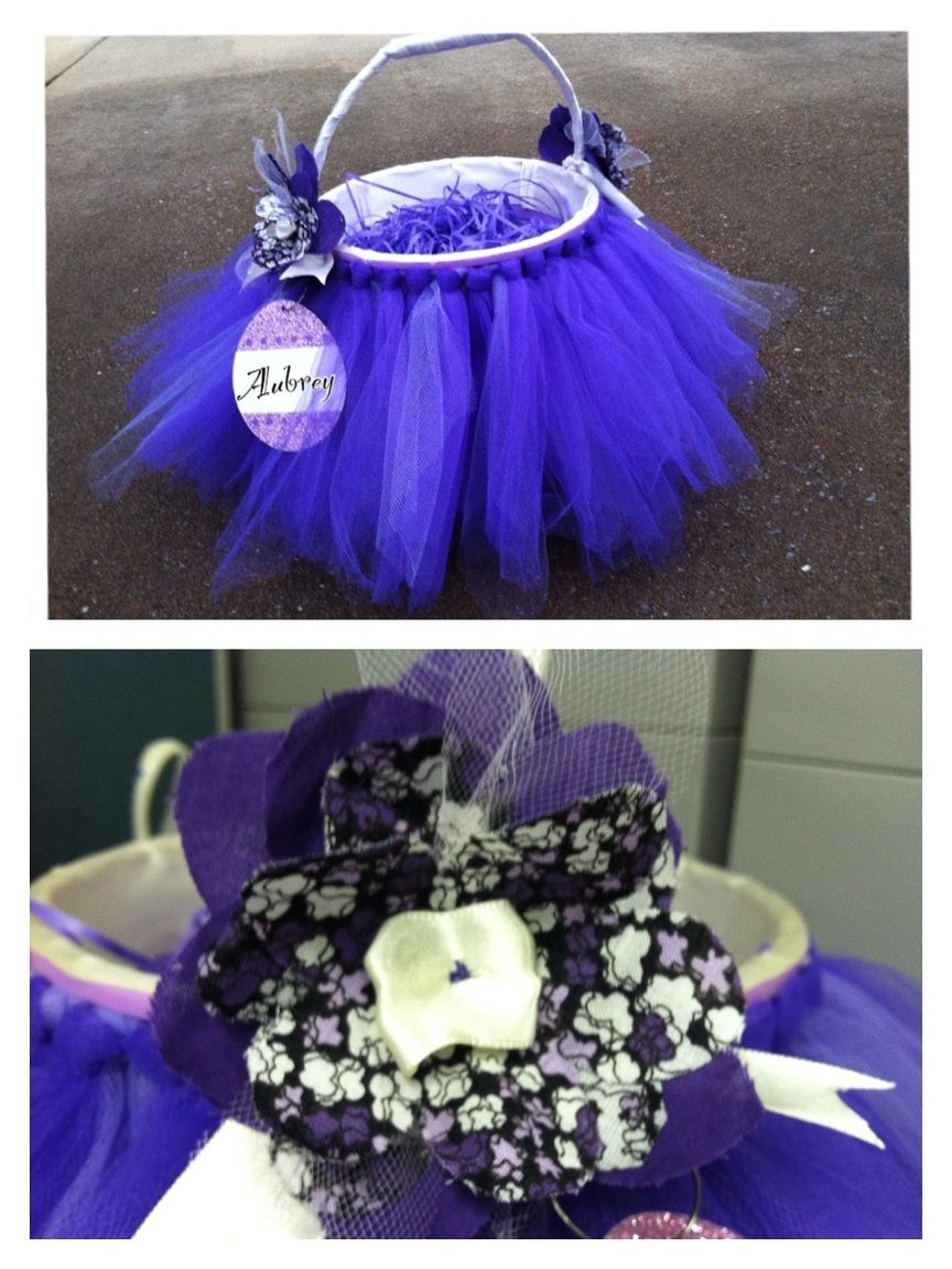Purple And Cream Tutu Easter Basket Special Order For A