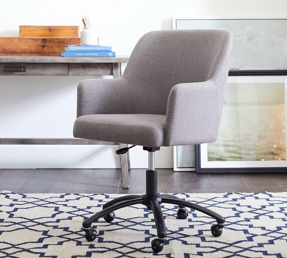 Dublin Upholstered Desk Chair, Bronze Swivel Base