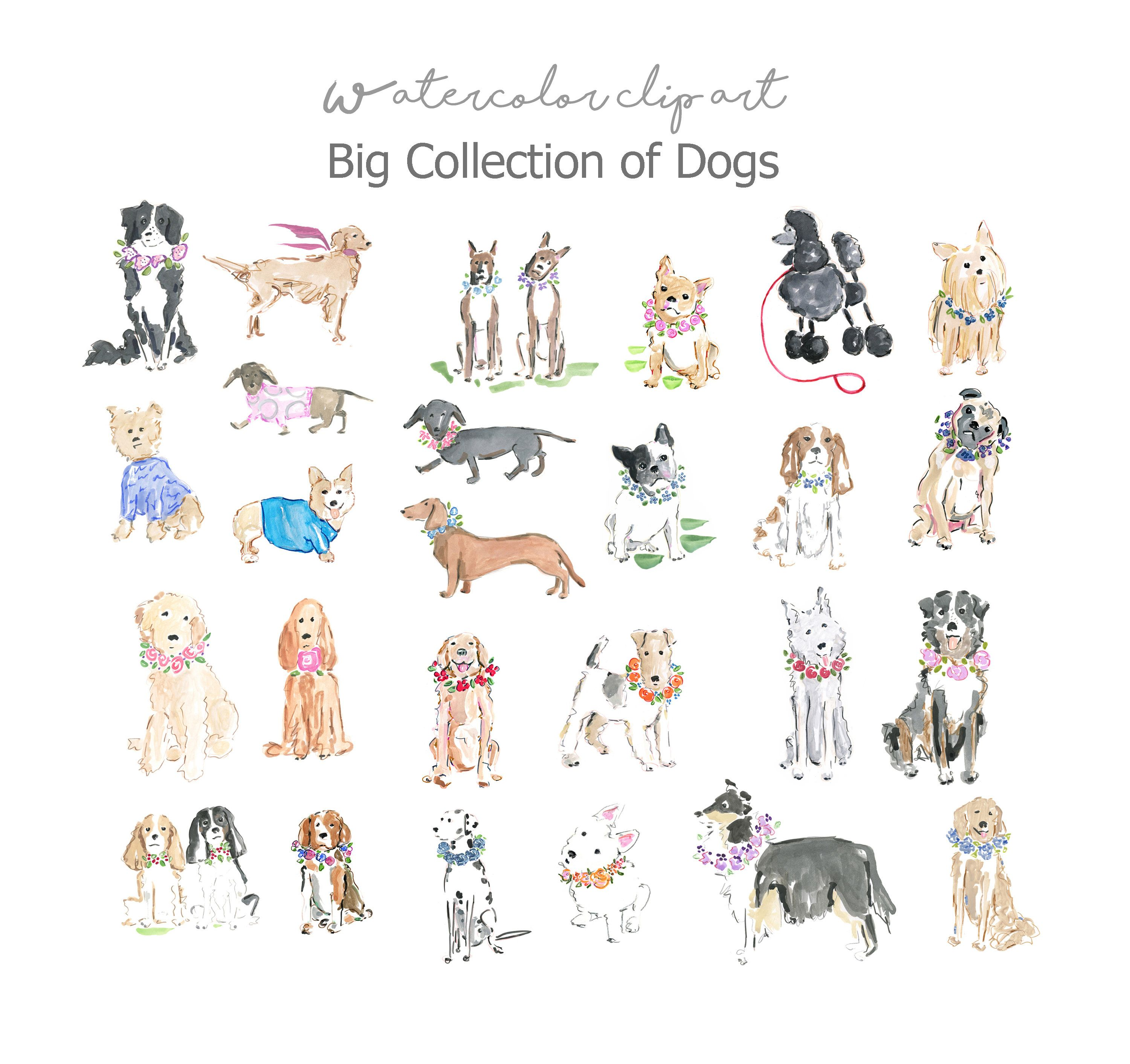 Watercolor Dogs Clip Art Collection Watercolor Dogs Large