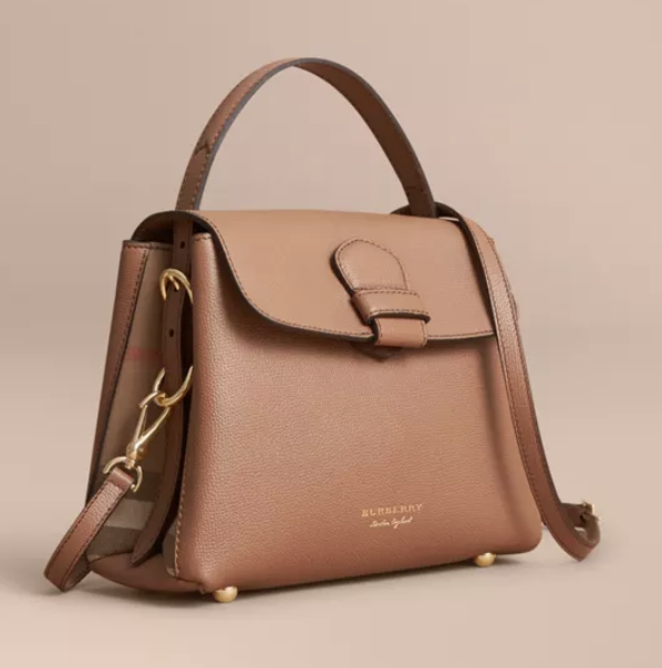 a7f00843aae2 Burberry Small Grainy Leather and House Check Tote Bag - Dark Sand