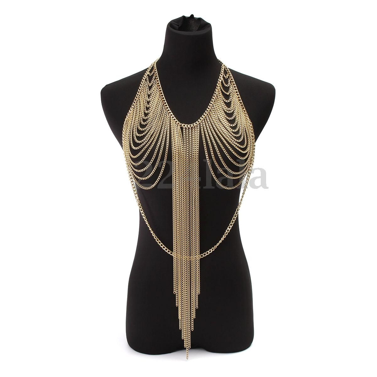 New Women Harness Gold Bridal Fashion Metal Shoulder Chain Body Necklace Jewelry