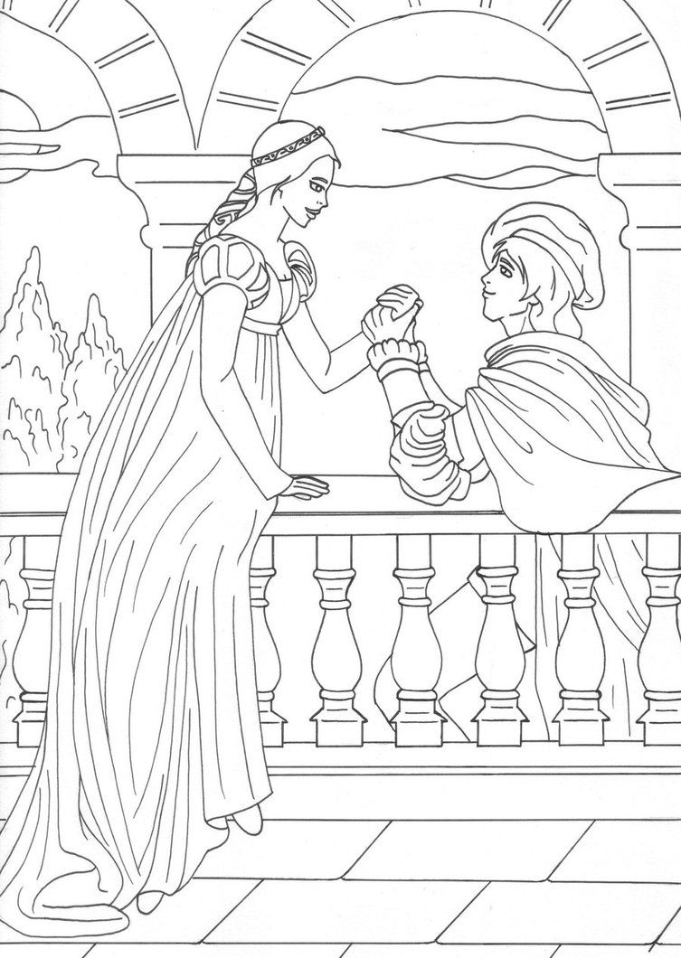 Romeo And Juliet Coloring Page Romeo And Juliet Drawing Romeo