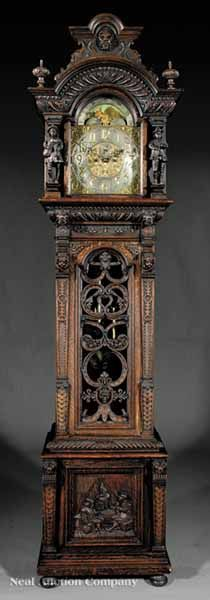 American Carved Oak Tall Case Clock, early 20th c., attributed to Tobey Furniture Co., Chicago, with silvered brass dial marked Tiffany & Co.