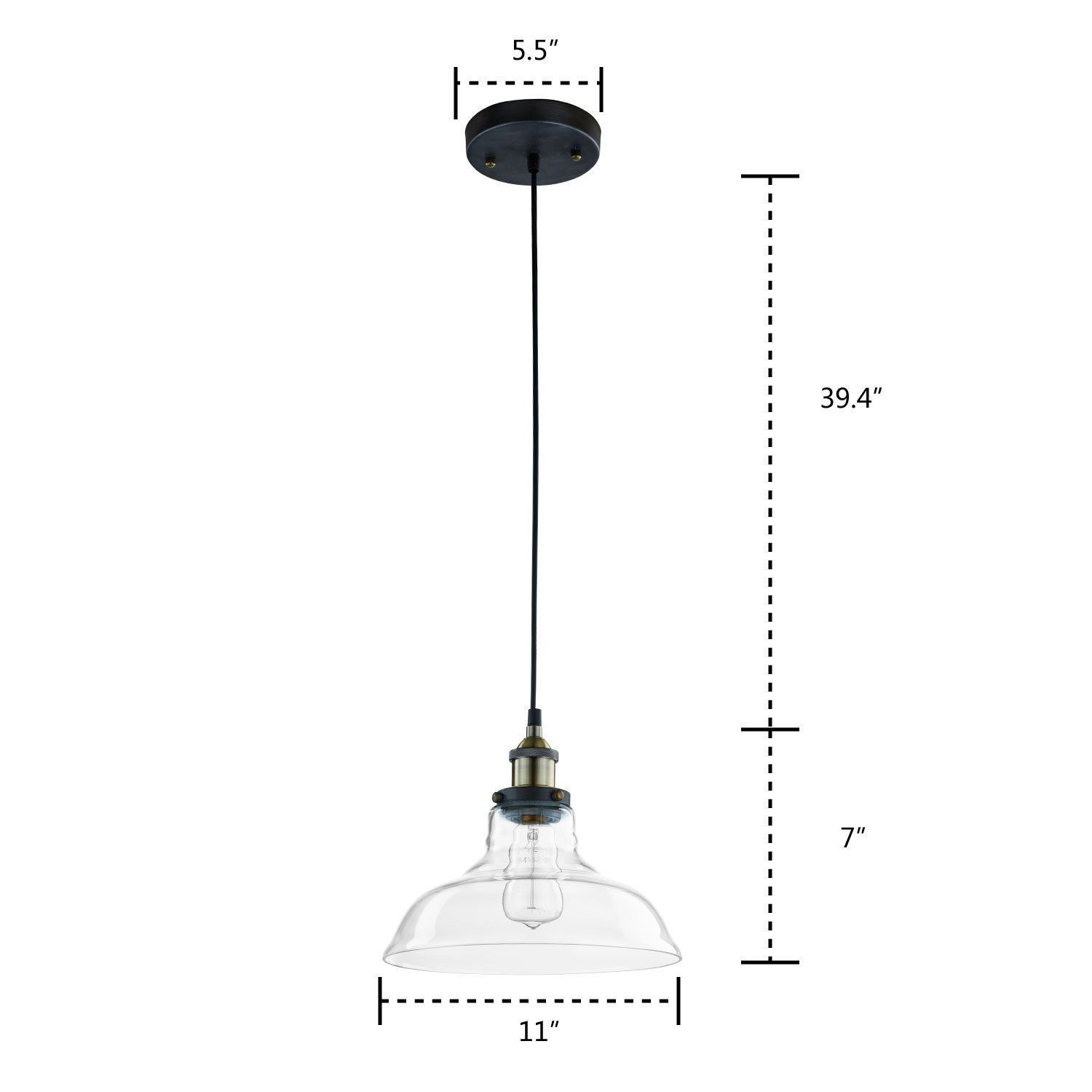 CLAXY Ecopower Industrial Edison Vintage Style 1 Light Pendant Glass Hanging