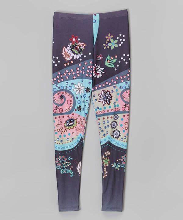 a23968bd69ce8 Look at this Citi Life Kids Aqua & Charcoal Paisley Leggings - Infant,  Toddler & Girls on #zulily today!
