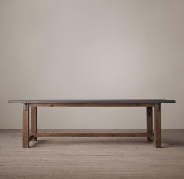 Reclaimed Wood Zinc Top Rectangular Dining Table Jeff Metal