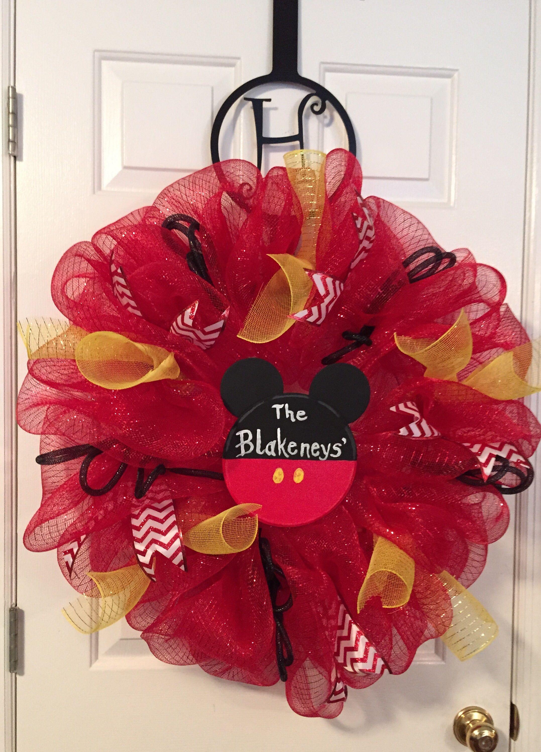 Mickey Mouse mesh wreath Wreath inspiration Pinterest