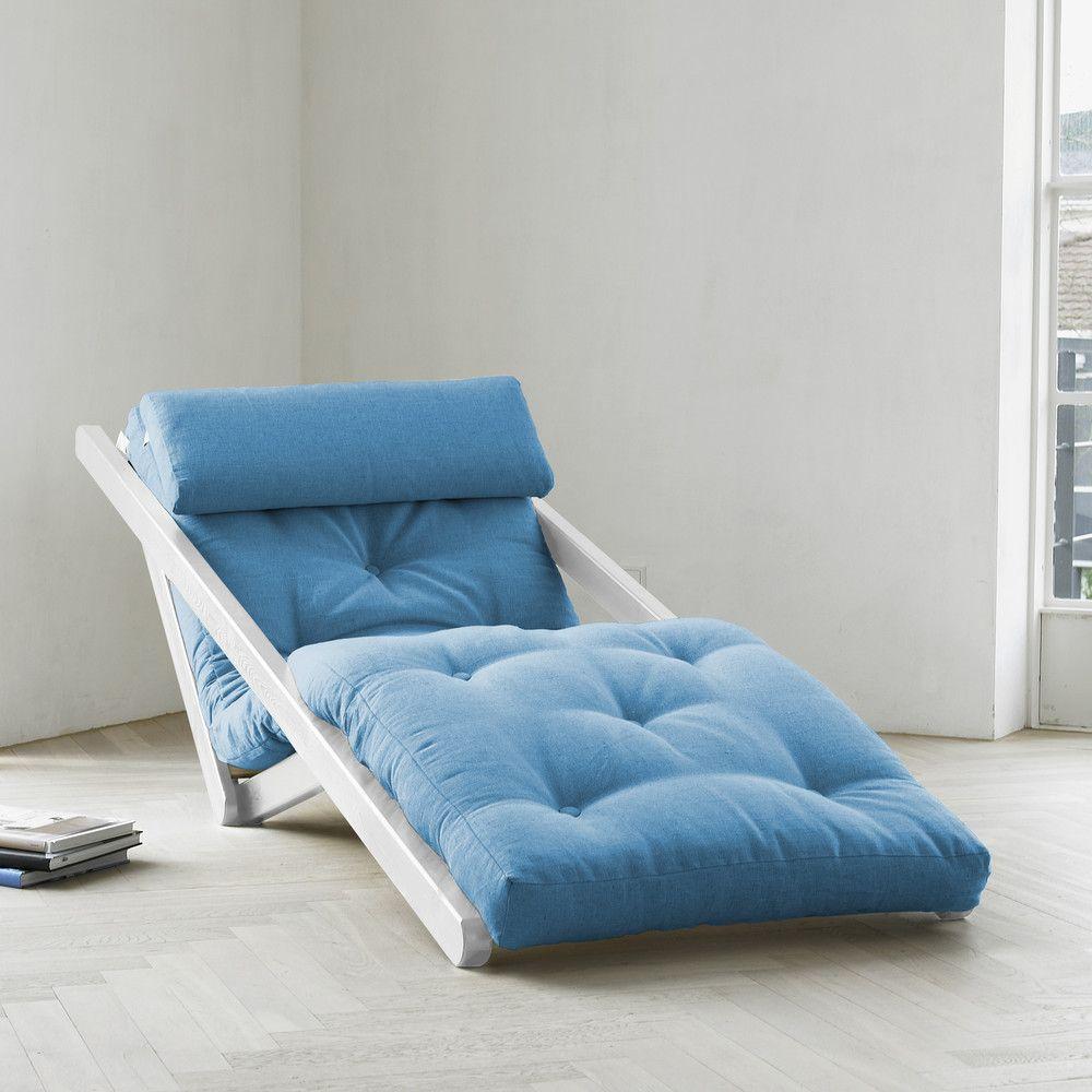 Leňoška Karup Figo White/Horizon Blue, 70 cm Poltrona