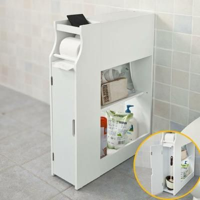 meuble de rangement armoire wc pour papier toilette porte brosse wc avec porte revues blanc. Black Bedroom Furniture Sets. Home Design Ideas