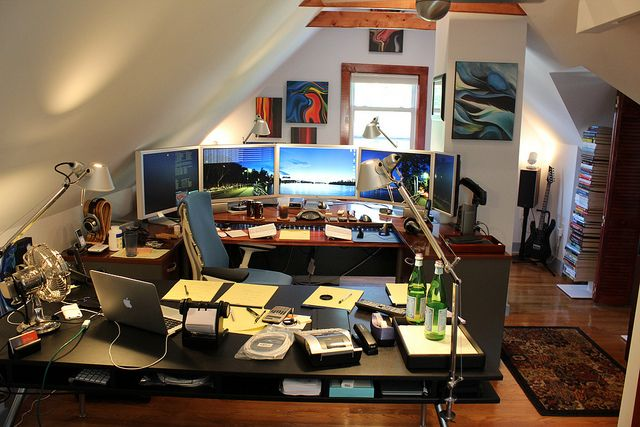 Home Office Dual Desk Setup: Mitch Haile's Attic Setup. I'm Personally Not A Fan Of