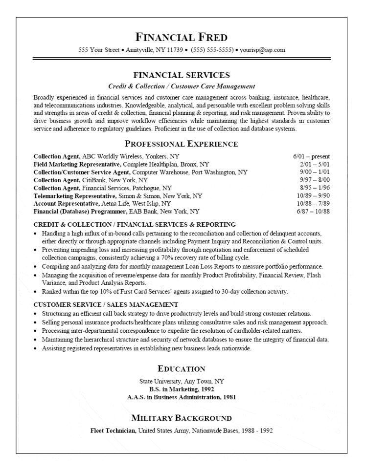 Collection Agent Resume Resumes Pinterest Collection agent - collection resume sample
