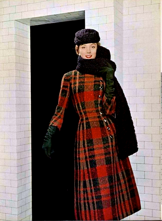 Jacques Fath overcoat 1955. Asymmetry! Plaid! Do I need to split out a Coat & Coatdress board?