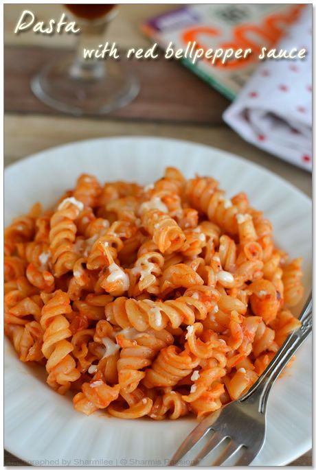 Fusilli Pasta In Roasted Red Bell Pepper Sauce Food Pasta