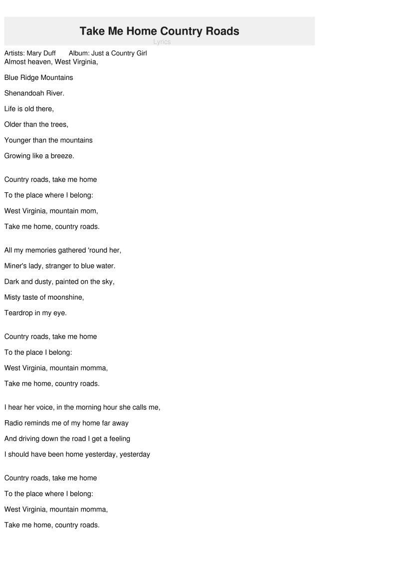 Image result for take me home country roads lyrics | Take ...