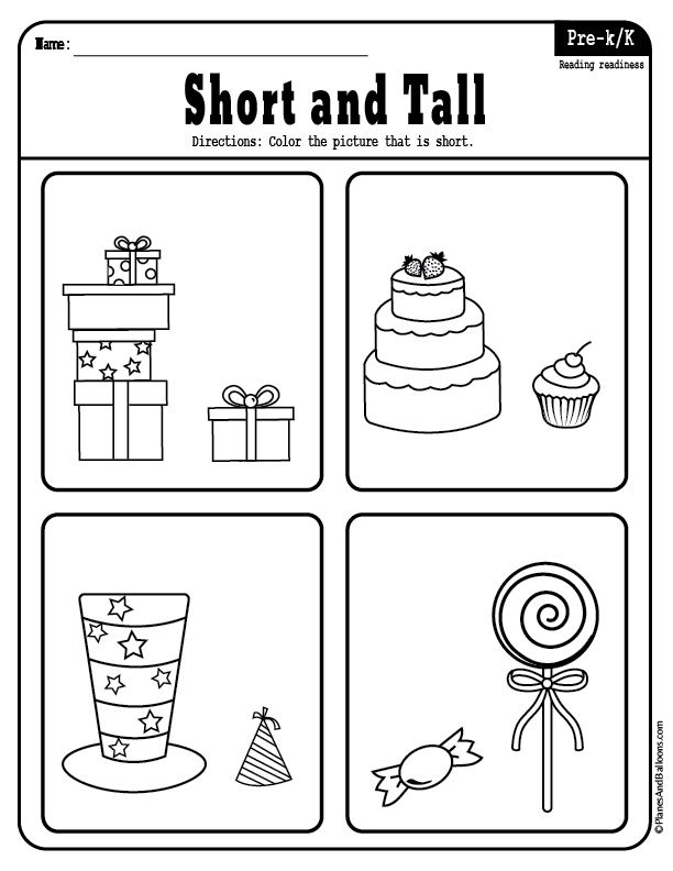 Short And Tall Worksheets For Preschool For Early Math And Reading Compare Greater Than Worksheets Short And Tall Worksheets