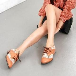 Floral Panel Oxford Flats