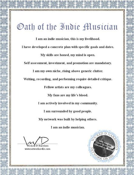 Oath of the Indie Musician - Printable Certificate! Now you can own - copy certificate picture