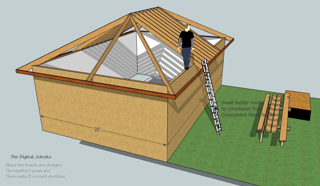 Model measure hip roof framing de mystified by modeling for Hip roof design
