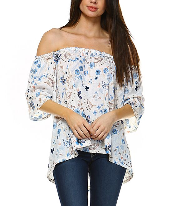 Blue Floral Off-Shoulder Top