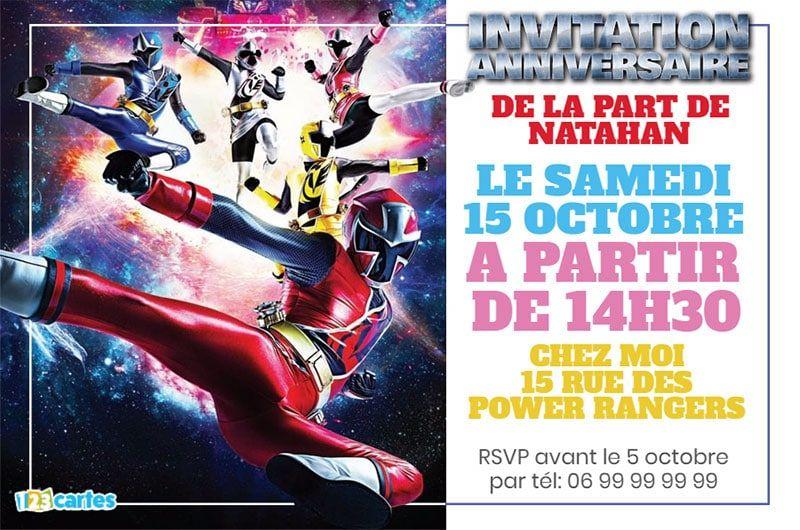 Invitation Anniversaire Power Rangers Ninja Steel En 2019