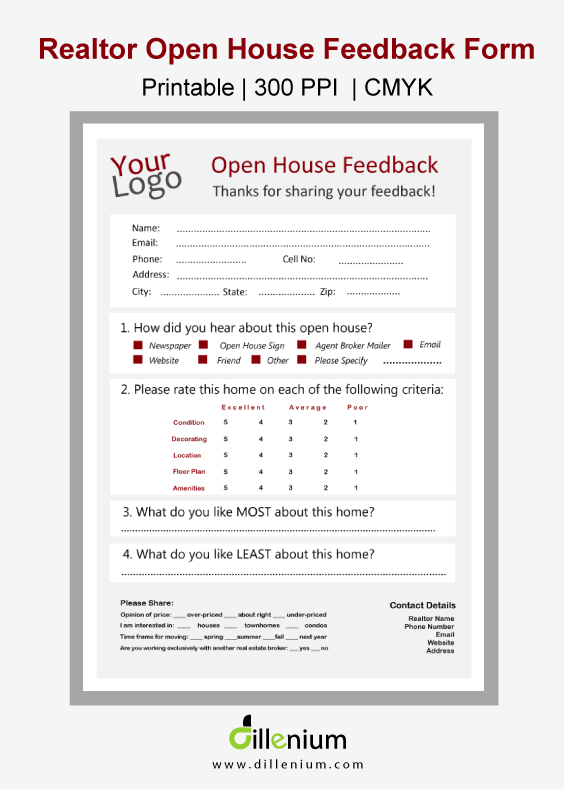 broker open house feedback form Real Estate Open House Feedback Form for Realtors | Open house, Real ...