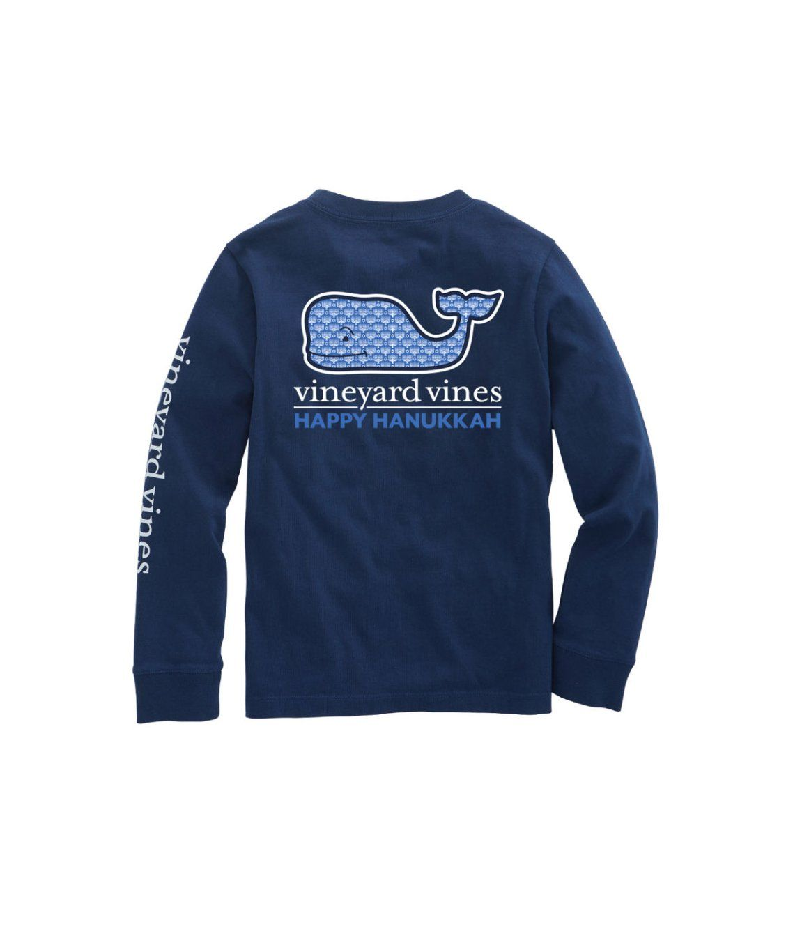 Vineyard Vines Christmas Shirt 2019.Kids Long Sleeve Hanukkah Whale Fill Pocket T Shirt New