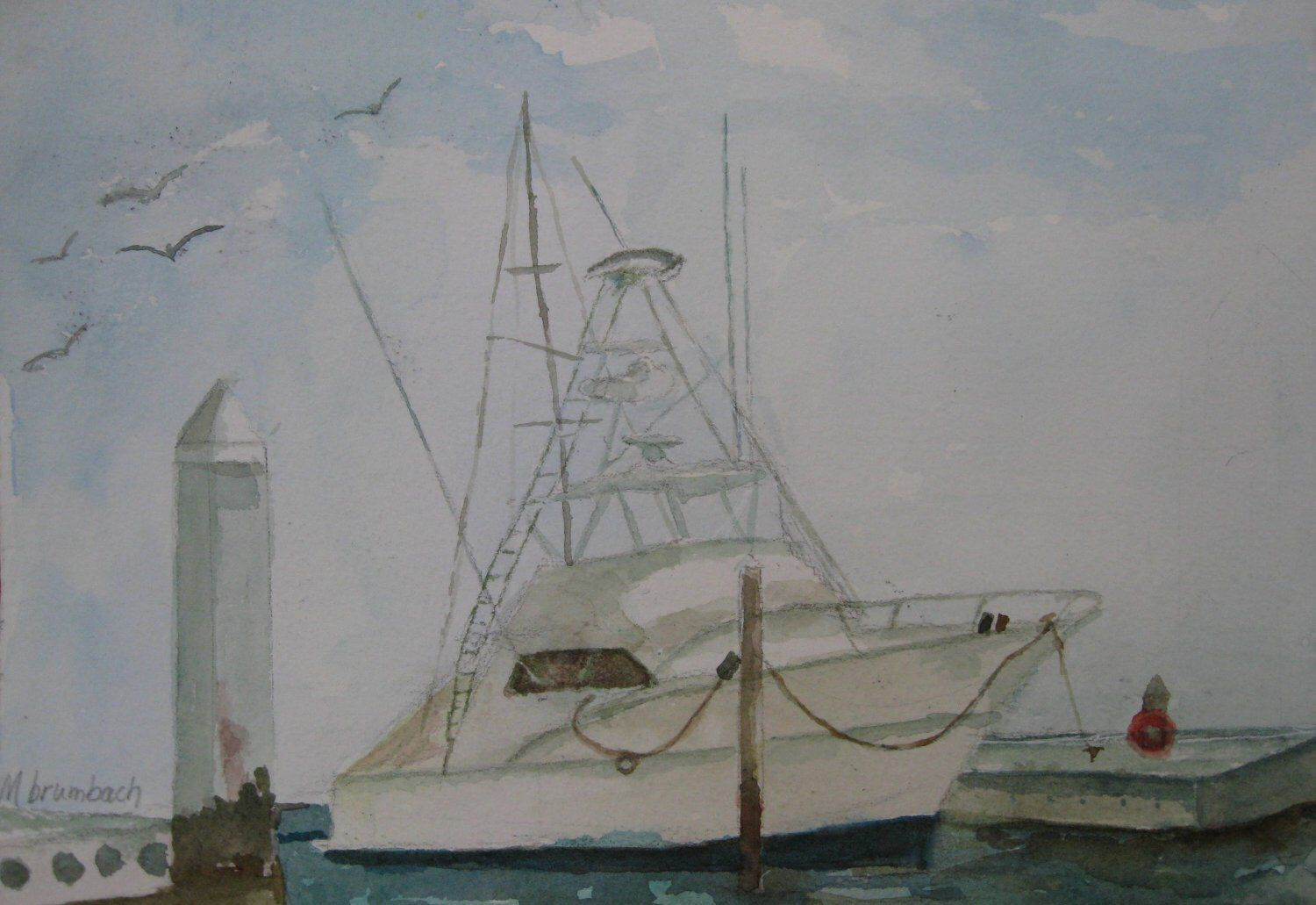 Fishing Yacht Painting Yacht Fishing Painting Yacht Original