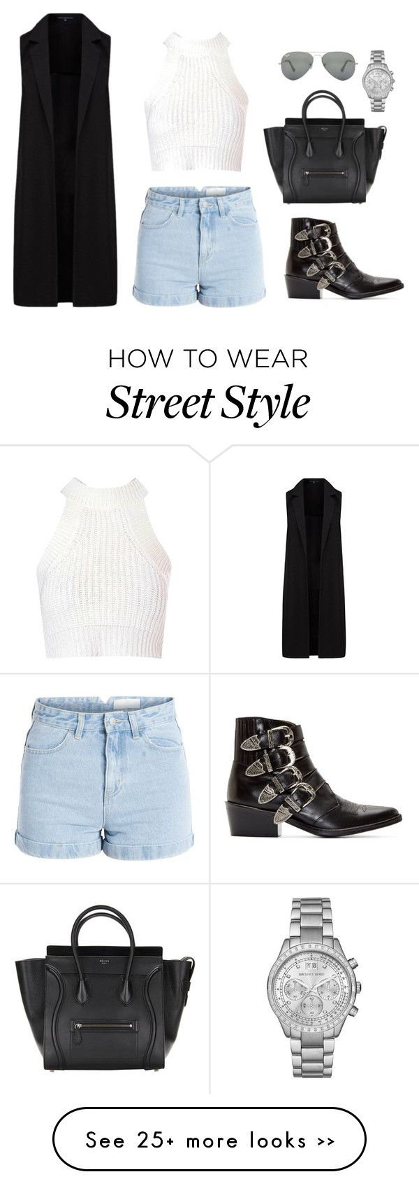 """""""Street Style"""" by teensallover on Polyvore featuring Toga, Glamorous, Pieces, French Connection, Ray-Ban, Michael Kors, StreetStyle, outfit and black"""