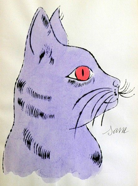 """Andy Warhol (1928-1987) - """"Sam"""" from """"25 cats named Sam, and one blue pussy"""" - offset-lithograph with extensive hand-coloring in watercolor, 1954"""