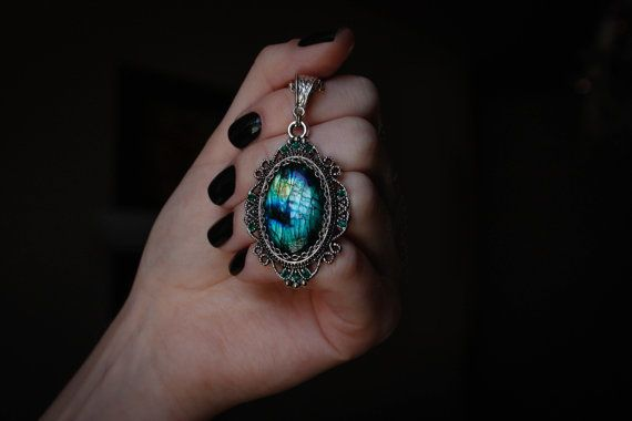 Genuine green and blue gemstone amulet  magical by DevilsJewel, $52.00