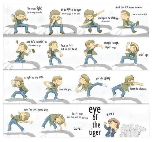 dean winchester eye of the tiger supernatural goofs