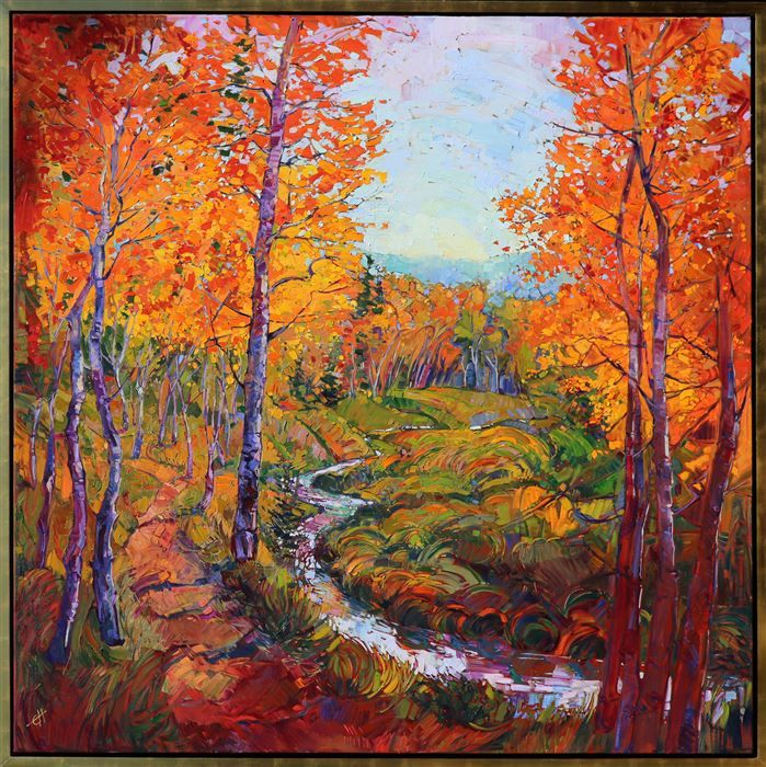 Erin Hanson ~ Autumn in Gold -- Modern Impressionism / Expressionism Oil Painting, California Impressionist Landscapes