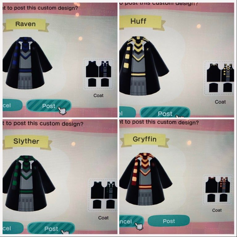 Harry Potter Robes All Four Houses Animalcrossingdesign Harry Potter Robes Animal Crossing Qr Animal Crossing Game