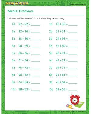 Mental Problem Free Printable Math Worksheet For 4th Grade