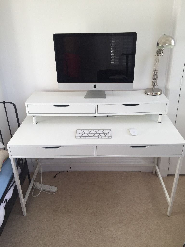White ALEX Ikea desk with EKBY ALEX Self with draws