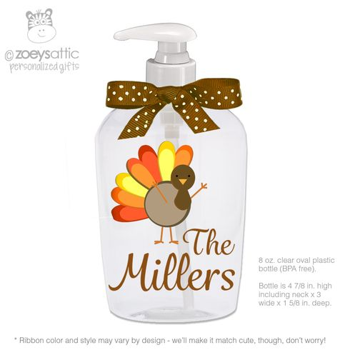 Thanksgiving Turkey Personalized Lotion Or Hand Sanitizer Or Soap