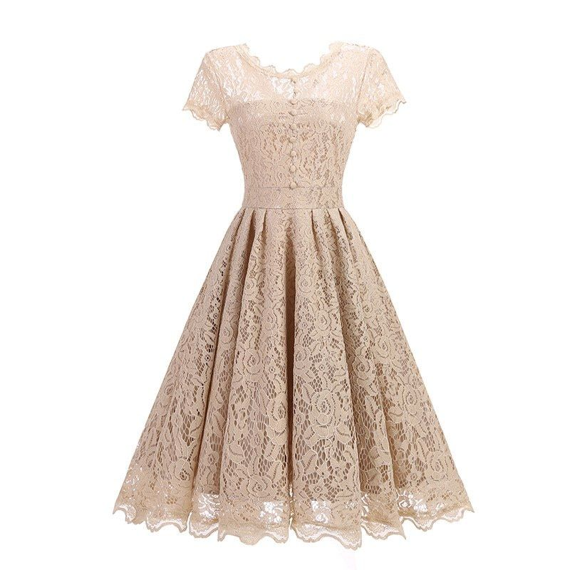 b64c69e9159 Round Neck Lace Vintage Dress – BEIGE M