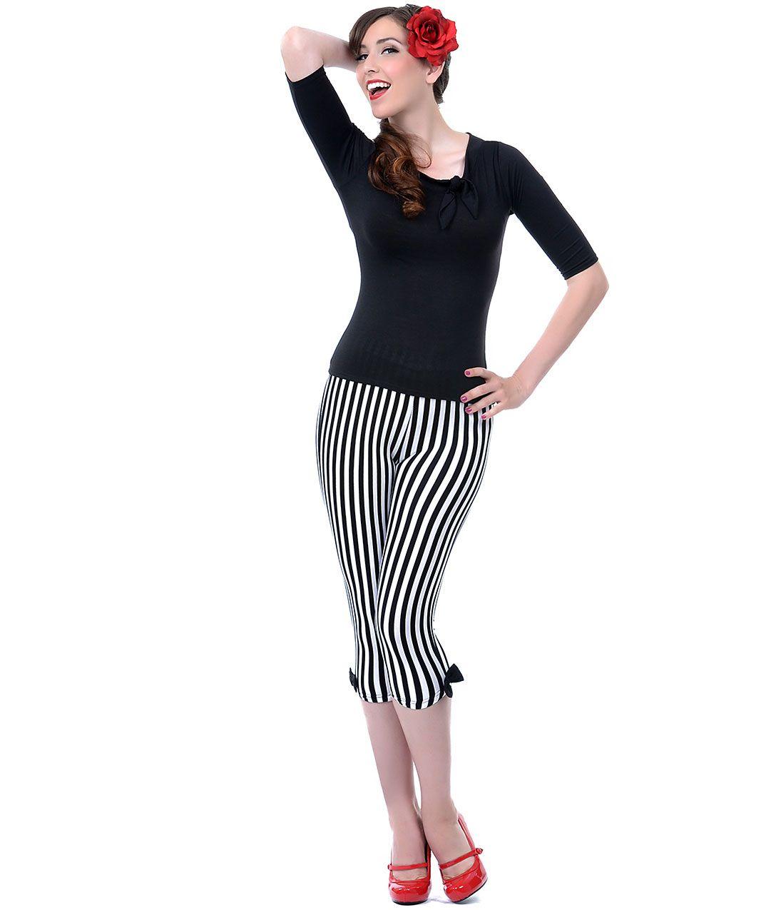 Unique vintage capri leggings black white stripes and unique vintage