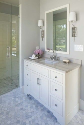 love the grey and white and accent purple Bath Pinterest Gray