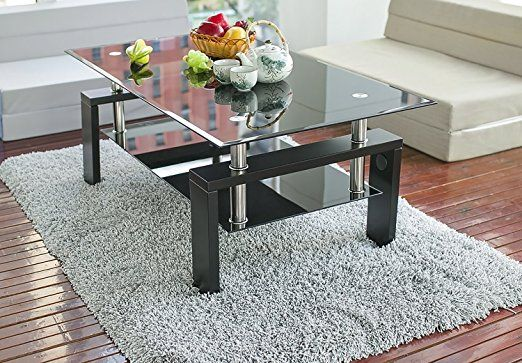 Amazon Com Merax Contemporary Coffee Tea Table With Glass Top And