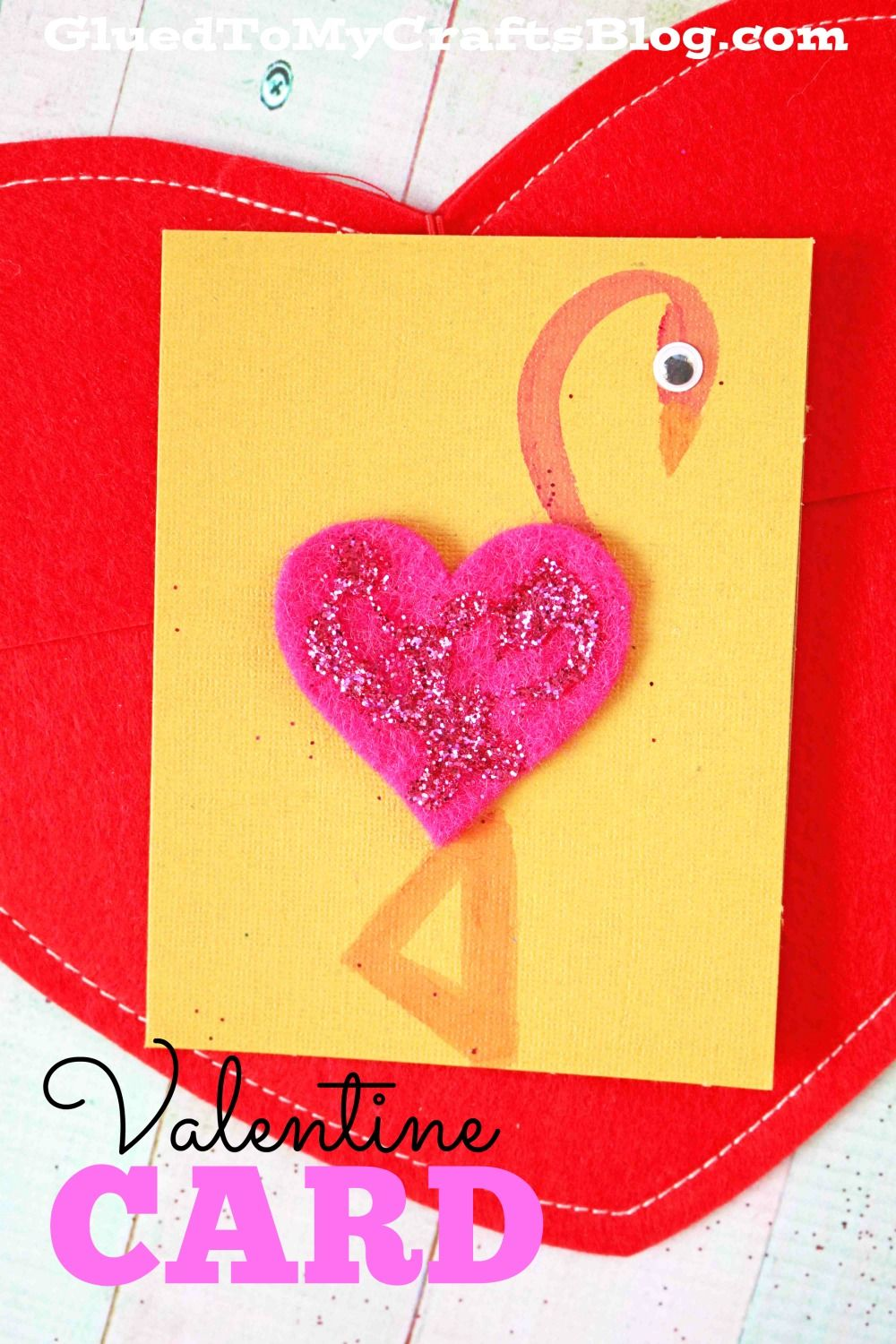 Heart Shaped Flamingo Valentine Card Glued To My Crafts