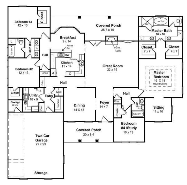 1-story Floor Plan W/optional MIL Suite...